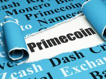 Blockchain concept: black text Primecoin under the piece of  torn paper. Blockchain concept: black text Primecoin under the curled piece of Blue torn paper with Royalty Free Stock Photos