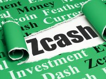 Blockchain concept: black text Zcash under the piece of  torn paper. Blockchain concept: black text Zcash under the curled piece of Green torn paper with  Tag Royalty Free Stock Image