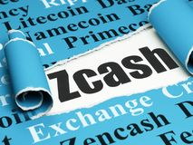 Blockchain concept: black text Zcash under the piece of  torn paper. Blockchain concept: black text Zcash under the curled piece of Blue torn paper with  Tag Royalty Free Stock Image