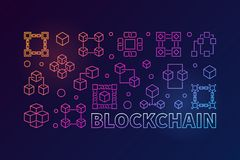 Blockchain colorful horizontal illustration. Vector banner. Blockchain concept colorful horizontal illustration. Vector block chain computer technology banner in Royalty Free Stock Photography