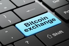 Blockchain concept: Bitcoin Exchange on computer keyboard background. Blockchain concept: computer keyboard with word Bitcoin Exchange, selected focus on enter Stock Photography