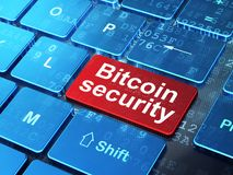 Blockchain concept: Bitcoin Security on computer keyboard background. Blockchain concept: computer keyboard with word Bitcoin Security on enter button background Stock Photography