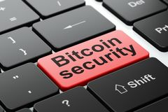 Blockchain concept: Bitcoin Security on computer keyboard background. Blockchain concept: computer keyboard with word Bitcoin Security, selected focus on enter Royalty Free Stock Photography