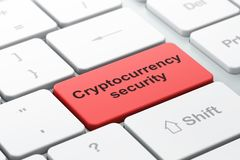 Blockchain concept: Cryptocurrency Security on computer keyboard background. Blockchain concept: computer keyboard with word Cryptocurrency Security, selected Royalty Free Stock Photography