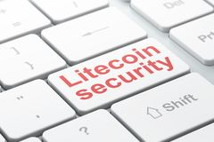 Blockchain concept: Litecoin Security on computer keyboard background. Blockchain concept: computer keyboard with word Litecoin Security, selected focus on enter Royalty Free Stock Photography