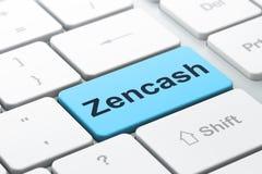 Blockchain concept: Zencash on computer keyboard background. Blockchain concept: computer keyboard with word Zencash, selected focus on enter button background Stock Image
