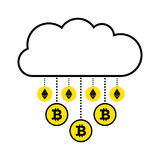 Blockchain concept of cryptocurrency. Cloud on white background. Gold rain virtual coins bitcoin, ethereum falling down. stock image