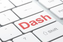 Blockchain concept: Dash on computer keyboard background. Blockchain concept: computer keyboard with word Dash, selected focus on enter button background, 3D Royalty Free Stock Image