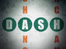 Blockchain concept: Dash in Crossword Puzzle. Blockchain concept: Painted green word Dash in solving Crossword Puzzle on Digital Data Paper background Stock Photography