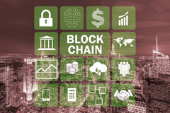 The blockchain concept in database management Stock Photo