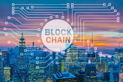 The blockchain concept in database management Stock Image
