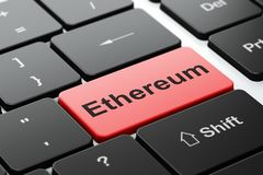 Blockchain concept: Ethereum on computer keyboard background. Blockchain concept: computer keyboard with word Ethereum, selected focus on enter button background Stock Image