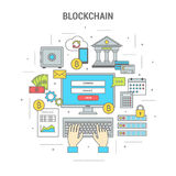 Blockchain concept finance banner with bitcoins. Square blockchain concept finance banner flat design line art. Set of icons of banking and payment by bitcoins Royalty Free Stock Images