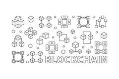 Blockchain horizontal illustration. Vector block chain banner. Blockchain concept horizontal illustration. Vector block chain computer technology banner in Royalty Free Stock Photo