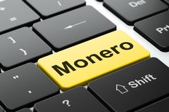 Blockchain concept: Monero on computer keyboard background. Blockchain concept: computer keyboard with word Monero, selected focus on enter button background, 3D Royalty Free Stock Image