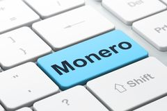 Blockchain concept: Monero on computer keyboard background. Blockchain concept: computer keyboard with word Monero, selected focus on enter button background, 3D Stock Images