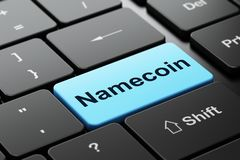 Blockchain concept: Namecoin on computer keyboard background. Blockchain concept: computer keyboard with word Namecoin, selected focus on enter button background Royalty Free Stock Photography