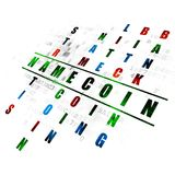 Blockchain concept: Namecoin in Crossword Puzzle. Blockchain concept: Pixelated green word Namecoin in solving Crossword Puzzle on Digital background Stock Images