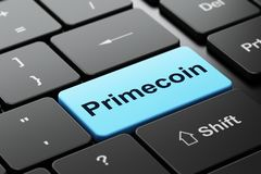 Blockchain concept: Primecoin on computer keyboard background. Blockchain concept: computer keyboard with word Primecoin, selected focus on enter button Stock Photo