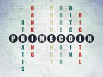 Blockchain concept: Primecoin in Crossword Puzzle. Blockchain concept: Painted black word Primecoin in solving Crossword Puzzle on Digital Data Paper background Royalty Free Stock Photography