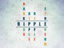 Blockchain concept: Ripple in Crossword Puzzle. Blockchain concept: Painted blue word Ripple in solving Crossword Puzzle on Digital Data Paper background Royalty Free Stock Photography