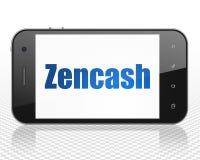Blockchain concept: Smartphone with Zencash on display. Blockchain concept: Smartphone with blue text Zencash on display, 3D rendering Stock Photos