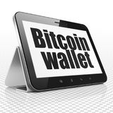 Blockchain concept: Tablet Computer with Bitcoin Wallet on display. Blockchain concept: Tablet Computer with black text Bitcoin Wallet on display, 3D rendering Royalty Free Stock Image