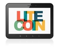 Blockchain concept: Tablet Computer with Litecoin on  display. Blockchain concept: Tablet Computer with Painted multicolor text Litecoin on display, 3D rendering Royalty Free Stock Photography