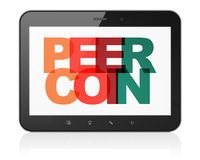 Blockchain concept: Tablet Computer with Peercoin on  display. Blockchain concept: Tablet Computer with Painted multicolor text Peercoin on display, 3D rendering Stock Images