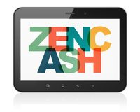 Blockchain concept: Tablet Computer with Zencash on  display. Blockchain concept: Tablet Computer with Painted multicolor text Zencash on display, 3D rendering Royalty Free Stock Photography