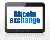 Blockchain concept: Tablet Pc Computer with Bitcoin Exchange on display. Blockchain concept: Tablet Pc Computer with blue text Bitcoin Exchange on display, 3D Stock Images