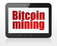Blockchain concept: Tablet Pc Computer with Bitcoin Mining on display. Blockchain concept: Tablet Pc Computer with red text Bitcoin Mining on display, 3D Stock Photography