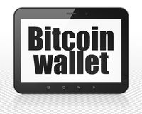 Blockchain concept: Tablet Pc Computer with Bitcoin Wallet on display Stock Photo