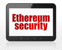 Blockchain concept: Tablet Pc Computer with Ethereum Security on display. Blockchain concept: Tablet Pc Computer with red text Ethereum Security on display, 3D Stock Photography