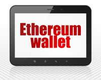 Blockchain concept: Tablet Pc Computer with Ethereum Wallet on display. Blockchain concept: Tablet Pc Computer with red text Ethereum Wallet on display, 3D Royalty Free Stock Photography