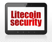 Blockchain concept: Tablet Pc Computer with Litecoin Security on display. Blockchain concept: Tablet Pc Computer with red text Litecoin Security on display, 3D Stock Images