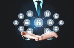 Blockchain concept. Blockchain and technology safety and reliability concept stock photography
