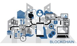 Blockchain vector background illustration with hand holding smartphone and icons. Stock Photography