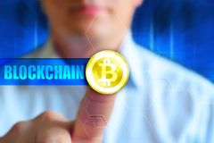Blockchain concept wallpaper. Concept image for cryptocurrency, ico, invest, finance themes. Cryptocurrency Bitcoin symbol at the gold coin, word Bitcoin royalty free stock image