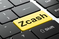 Blockchain concept: Zcash on computer keyboard background. Blockchain concept: computer keyboard with word Zcash, selected focus on enter button background, 3D Royalty Free Stock Photography
