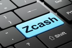 Blockchain concept: Zcash on computer keyboard background. Blockchain concept: computer keyboard with word Zcash, selected focus on enter button background, 3D Royalty Free Stock Photo
