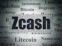 Blockchain concept: Zcash on Digital Data Paper background vector illustration