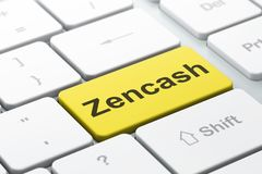Blockchain concept: Zencash on computer keyboard background. Blockchain concept: computer keyboard with word Zencash, selected focus on enter button background Royalty Free Stock Photo