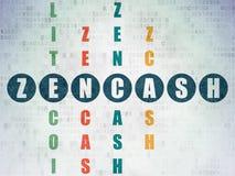 Blockchain concept: Zencash in Crossword Puzzle. Blockchain concept: Painted blue word Zencash in solving Crossword Puzzle on Digital Data Paper background Stock Image