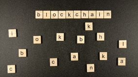 Blockchain conception from a wooden blocks. Blockchain conception from wooden blocks stock footage