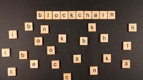 Blockchain conception from a wooden blocks Stock Photos