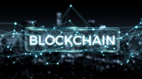 Blockchain connection background 3D rendering Royalty Free Stock Image