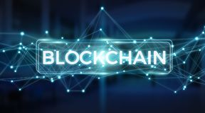 Blockchain connection background 3D rendering. Blockchain connection on blurred server background 3D rendering Stock Photo