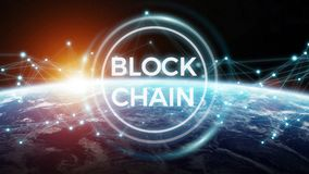 Blockchain on planet Earth 3D rendering. Blockchain and connections over the globe 3D rendering elements of this image furnished by NASA Royalty Free Stock Images