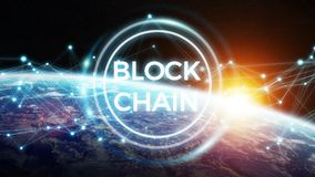 Blockchain on planet Earth 3D rendering. Blockchain and connections over the globe 3D rendering elements of this image furnished by NASA Stock Photos